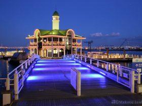 桟橋入口付近よりぷかり桟橋(南東)方向の夜景を望む