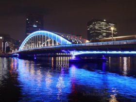 ブルーがひときわ映える永代橋のライトアップ全景