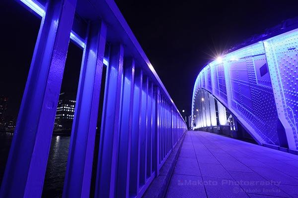 強烈なまでの青い色に包み込まれている歩道の雰囲気