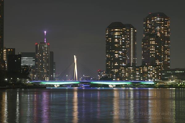 勝鬨橋から佃大橋・東京スカイツリー(北東)方向の夜景を望む