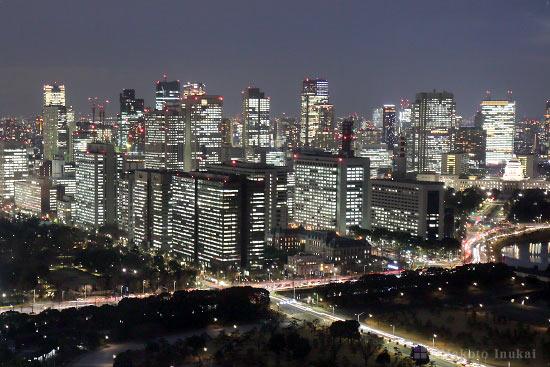 桜田門・霞ヶ関(南西)方向の夜景を望遠で捉える