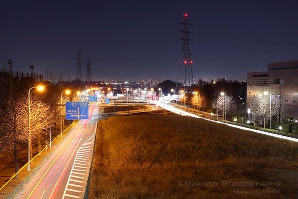 稲城・調布(北東)方向の夜景を望む