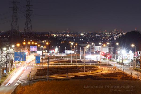 稲城・調布(北東)方向の夜景を望遠で捉える