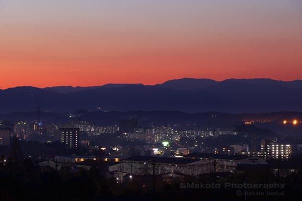 多摩永山(西)方向の夜景を望む