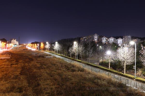 向陽台高層住宅街(北西)方向の夜景を望む