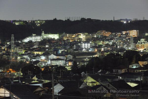 連光寺(北東)方向の夜景を望遠で捉える