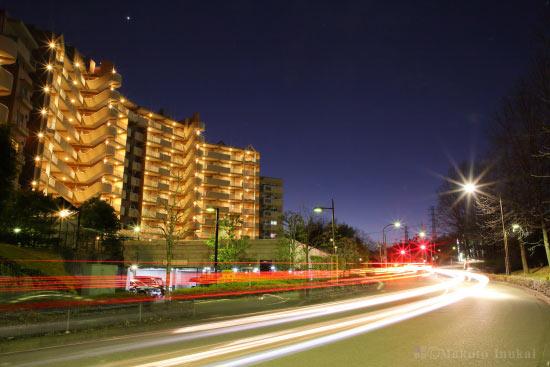 真光寺公園前から西方向の夜景を望む
