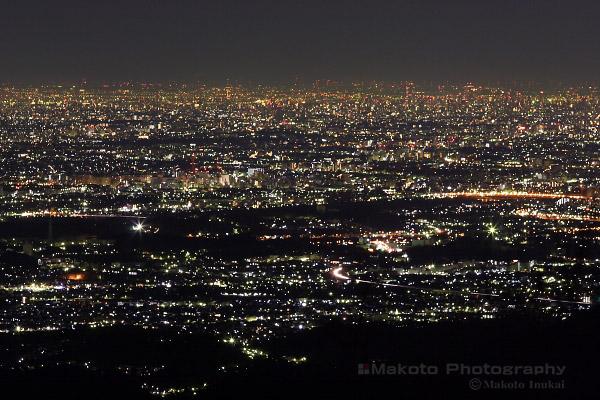 八王子・立川(北東)方向の夜景を望む