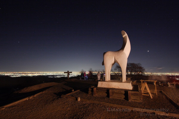 夜景スポット 陣馬山山頂展望台の雰囲気