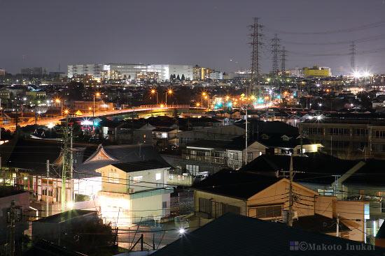 豊田(北北西)方向の夜景を望遠で捉える