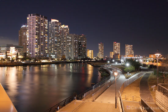 高島水際線公園・ザヨコハマタワーズ(北東)方向の夜景を望む