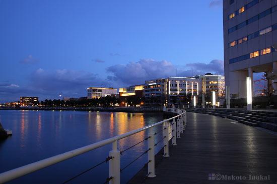 ぷかり桟橋前よりカップヌードルパーク(南)方向の夜景を望む