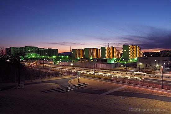中神町(南西)方向の夜景を望む