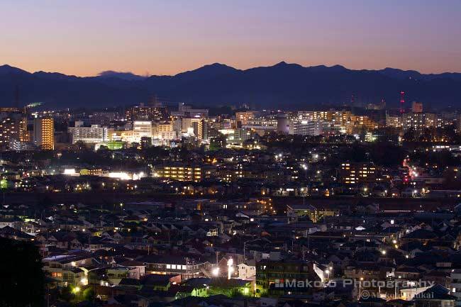 八王子市街(西)方向の夜景を望む