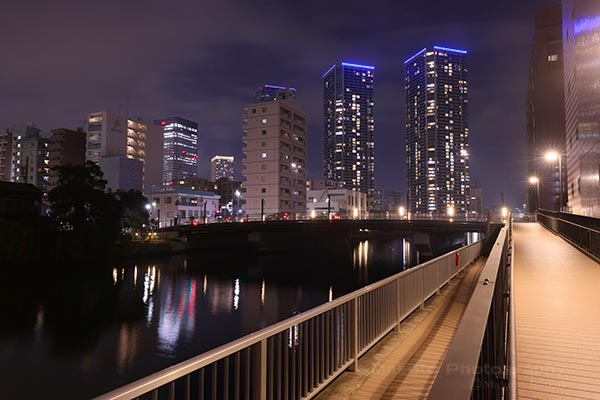 新島橋・晴海(南東)方向の夜景を望む