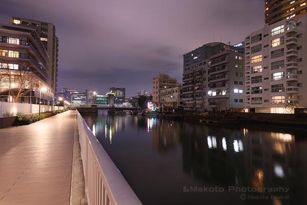 浜前橋(北西)方向の夜景を望む